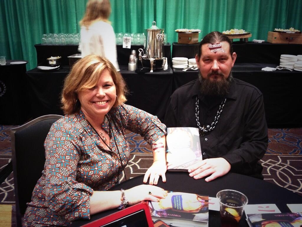 Rocking Fringe Florida tat with new friend Matt at Southern Independent Booksellers Alliance trade show in NOLA